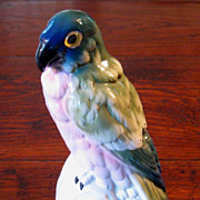 SALE Antique Rosenthal Porcelain Parrot Perfume Lamp, Circa 1910
