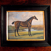 SALE Framed Horse Painting On Board, Circa 1930