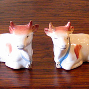 SALE 19th Century Pair Of Staffordshire Cottage Figure Cows, Circa 1880