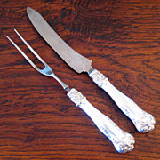 SALE 19th Century Gorham Sterling Silver Carving Set, Circa 1850