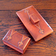 SALE Vintage Italian Leather Stamp Box & Blotter, Circa 1930