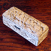 SALE 19th Century Chinese White Cinnabar Stamp Box