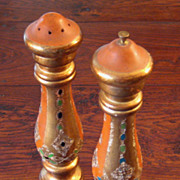 SALE Vintage Italian Florentine Gilt Wood Salt & Pepper Mill, Circa 1940