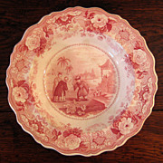 SALE Early 19th Century Red Transferware Bowl/ Plate, Circa 1830