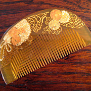 SALE Vintage Japanese Honey Celluloid Geisha Hair Comb, Circa 1920