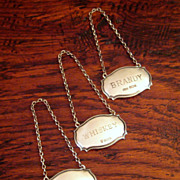 SALE Set Of 3 Vintage British Sterling Silver Liquor Tags, Circa 1940