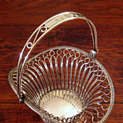 SALE Antique Silver Plate Handled Basket By E. G. Webster & Son, Circa 1900