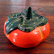SALE Vintage Japanese Seal Paste Box In The Form Of A Persimmon