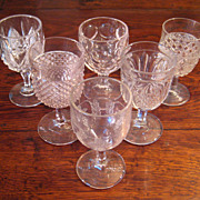 SALE Set Of Six 19th Century Early American Pattern Glass Goblets