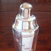 SALE Vintage Chrome Drink Recipe Cocktail Shaker, Circa 1950