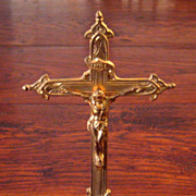 SALE Vintage Gilt Metal Crucifix, Circa 1940