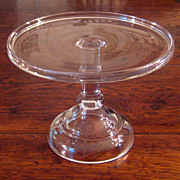 SALE Small Antique Pedestal Glass Cake Stand, Circa 1900