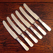 SALE Set Of Six Vintage Mother Of Pearl Knives With Sterling Sivler Cuffs, Circa 1930