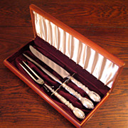 SALE Large Frank M. Whiting & Co. Sterling Silver Carving Set, Circa 1910