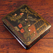 SALE 19th Century Chinoiserie Black Lacquer Box, Circa 1875