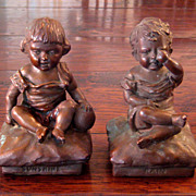 SALE Vintage Pair Of Art Bronze Sunshine & Rain Bookends, Circa 1925