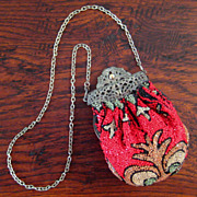 SALE Early Vintage Beaded Bag With Silver Plate Clasp, Circa 1910