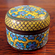 SALE Small Antique Chinese Cloisonne Round Box, Circa 1890