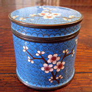 SALE Antique Chinese Cloisonne Box With Ming Tree Design, Circa 1900