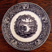 SALE Podmore & Walker Mulberry Transferware Plate In The Washington Vase Pattern, Circa 1830