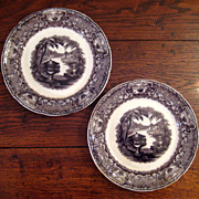 SALE Pair Of Podmore & Walker Mulberry Transferware Plates, Washington Vase Patten, Circa 1930