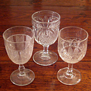 SALE Set Of Three 19th Century Early American Pattern Glass Stemmed Goblets