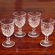 SALE Set Of Four 19th Century Early American Pattern Glass Cordials