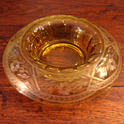SALE Vintage Westmoreland Cut Yellow Glass Center Bowl, Circa 1930