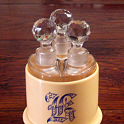 SALE Vintage French Ivory Celluloid Vanity Cut Crystal Triple Bottle Perfume, Circa 1910