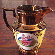 SALE Large 19th Century Copper Luster Pitcher, Circa 1850