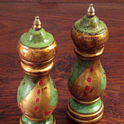 SALE Vintage Italian Florentine Gilt Wood Salt Shaker & Pepper Mill, Circa 1940