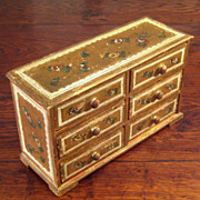 SALE Vintage Italian Florentine Gilt Wood Six Drawer Jewel Chest, Circa 1930