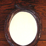 SALE Antique German Black Forest Carved Wood Oval Mirror, Circa 1900