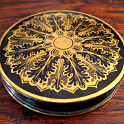 SALE 19th Century Gilt Decorated Black Pottery Rouge Box