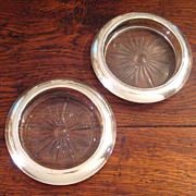 SALE Pair Of Vintage Whiting & Co. Sterling Silver Rim Wine Coasters