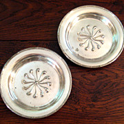 SALE Pair Of Early Vintage Hotel Or Railroad Silver Wine Coasters