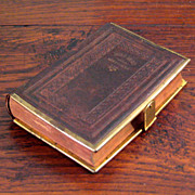 SALE 19th Century Embossed Brown Leather Bible With Brass Trim & Clasp