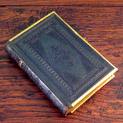 SALE 19th Century Green Embossed Leather Bible With Brass Trim & Clasp