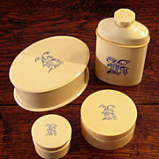 SALE Set Of 4 Vintage French Ivory Celluloid Vanity Jars, Circa 1910