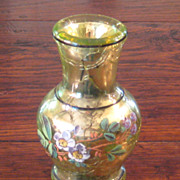 SALE 19th Century Floral Enameled Mercury Glass Vase, Circa 1875