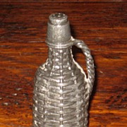 SALE Victorian Silver Plate Figural Pounce Pot- Wine Bottle In Basket, Circa 1860
