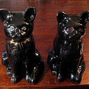 SALE Pair Of 19th Century Bo'ness Pottery Cats With Glass Eyes, Circa 1890