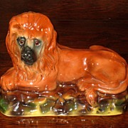 SALE Large 19th Century Bo'ness Pottery Lion, Scotland Circa 1890