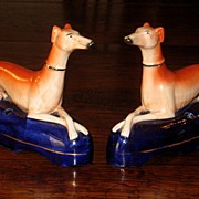 SALE Pair Of 19th Century Staffordshire Reclining Whippet Inkwells, Circa 1860