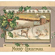 Vintage Embossed Christmas Postcard Deer Field Windmill MAB