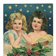 Embossed Christmas Postcard 2 Little Angelic Girls Stars