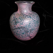 SALE Robert Held Art Glass Vase Signed Pinks Greens Signed