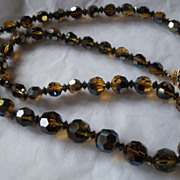 "Sherman Topaz Swarovski Crystal AB Finish 22 1/2"" Necklace Signed"
