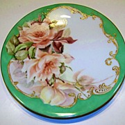 "T & V Limoges, France 1897 Hand Painted ""Peach Roses"" 9-1/4"" Teal Green Plate b"