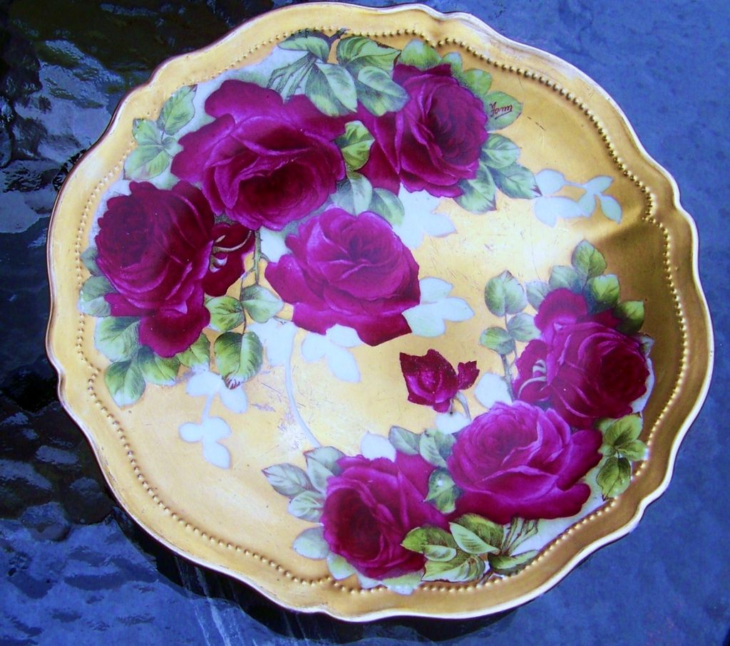 Royal Austria 1900's Hand Painted &quot;Rose DuBarry&quot; 9-5/8&quot; by Artist, &quot;Fonn&quot;